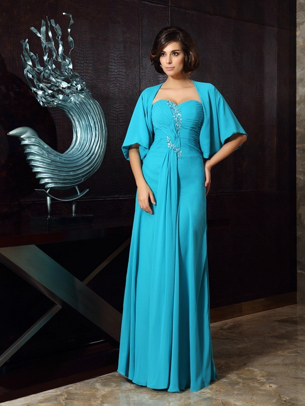Chicregina Sheath/Column Sweetheart Chiffon Floor-Length Mother Of The Bride Dress with Pleats Beading