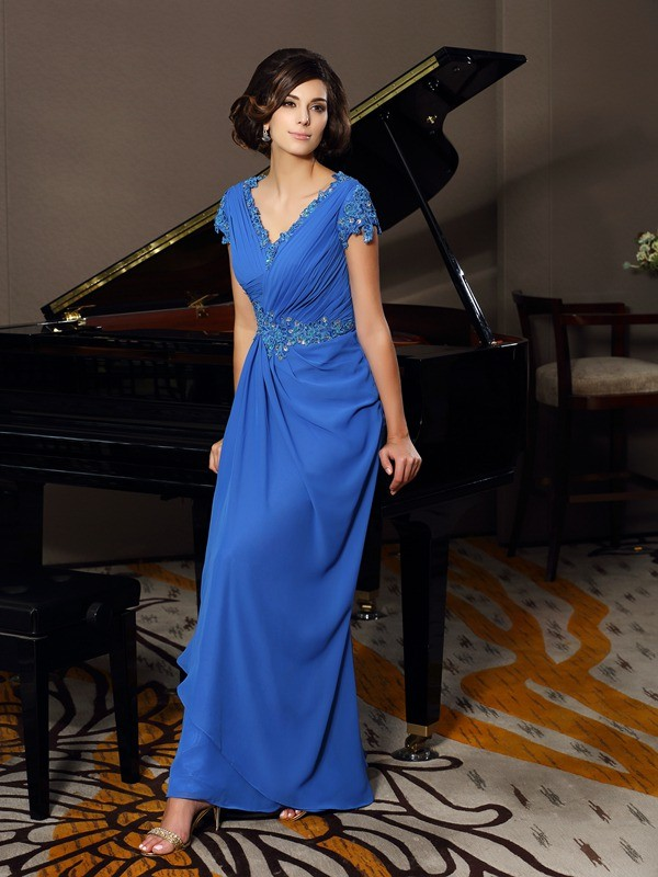 Chicregina A-Line/Princess Short Sleeves V-neck Chiffon Floor-Length Mother Of The Bride Dress with Ruffles Beading