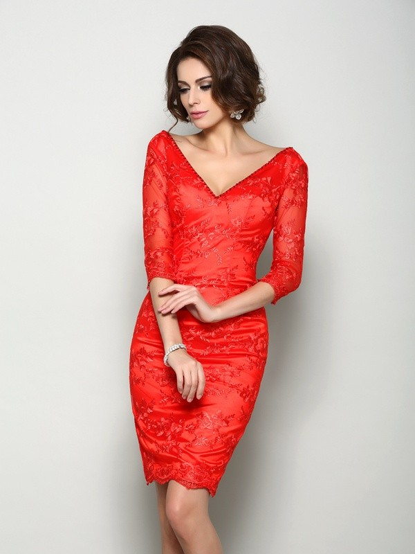 Chicregina Sheath/Column 1/2 Sleeves V-neck Knee-Length Lace Mother Of The Bride Dress with Beading