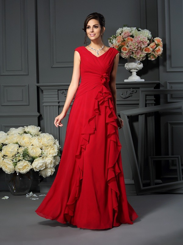 Chicregina A-Line/Princess V-neck Floor-Length Chiffon Dress with Applique Hand-Made Flower