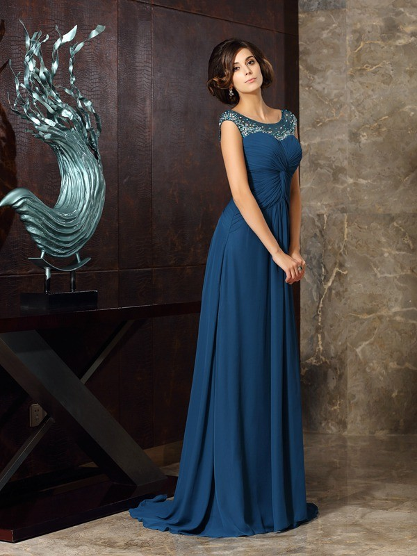 Chicregina A-Line/Princess Scoop Sweep/Brush Train Chiffon Mother Of The Bride Dress with Embroidery Beading