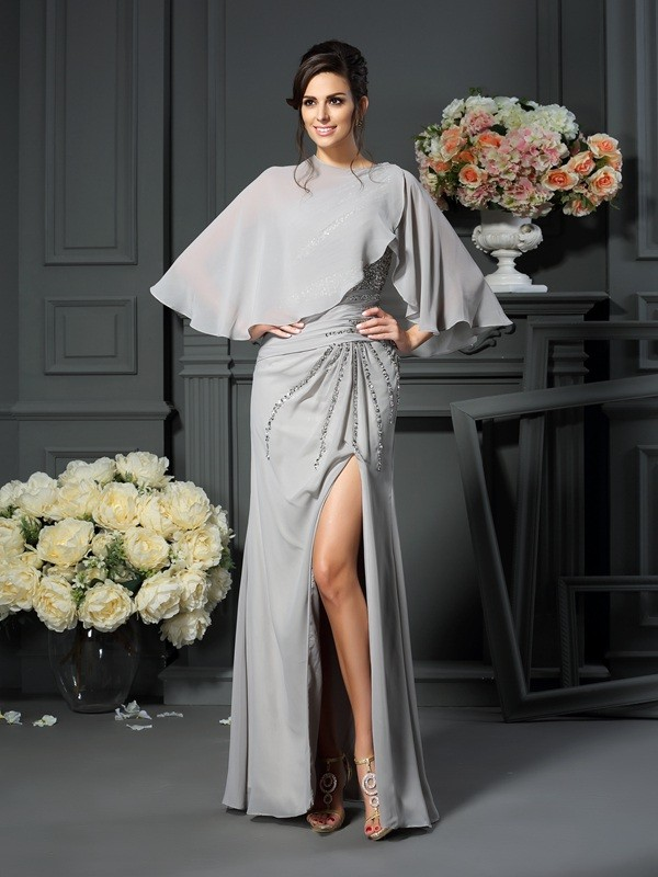 Chicregina Trumpet/Mermaid One-Shoulder Chiffon Floor-Length Mother Of The Bride Dress with Beading