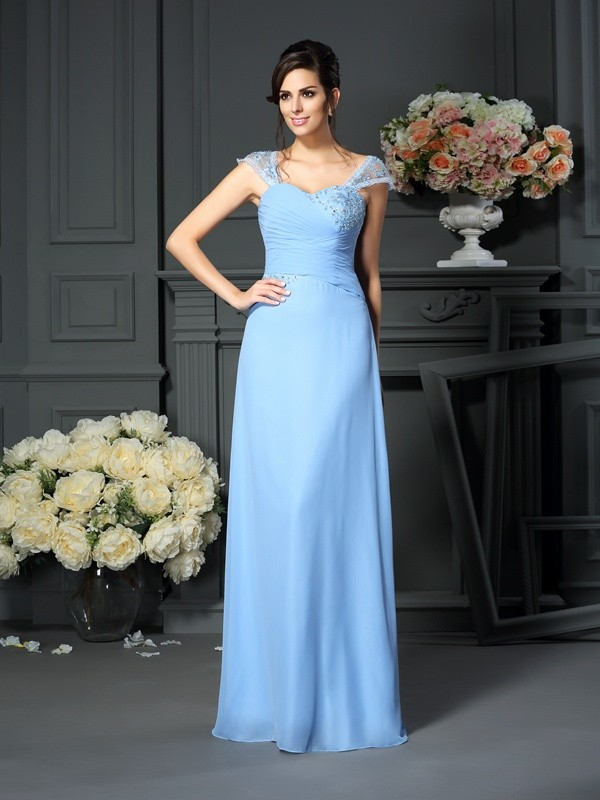 Chicregina Sheath/Column Straps Pleats Floor-Length Chiffon Mother Of The Bride Dress with Pleats