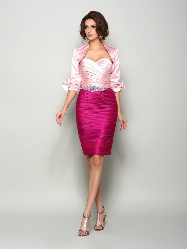 Chicregina Sheath/Column Sweetheart Satin Beading Knee-Length Mother Of The Bride Dress with Ruffles