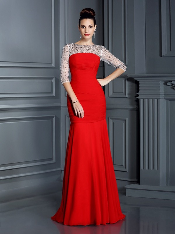 Chicregina Trumpet/Mermaid Scoop 3/4 Sleeves Floor-Length Chiffon Dress with Rhinestone
