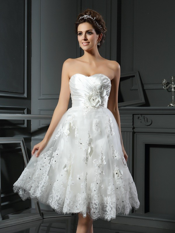 Chicregina A-Line/Princess Sweetheart Satin Tea-Length Ruched Wedding Dress with Pleats