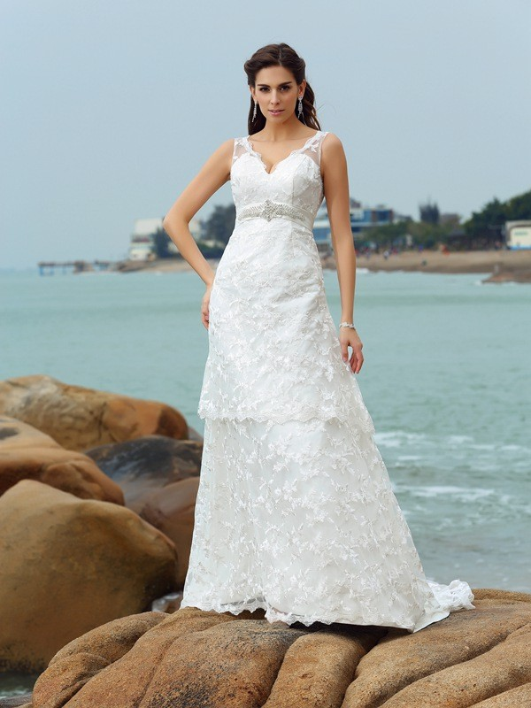 Chicregina A-Line/Princess Straps Satin Chapel Train Wedding Dress with Ruched