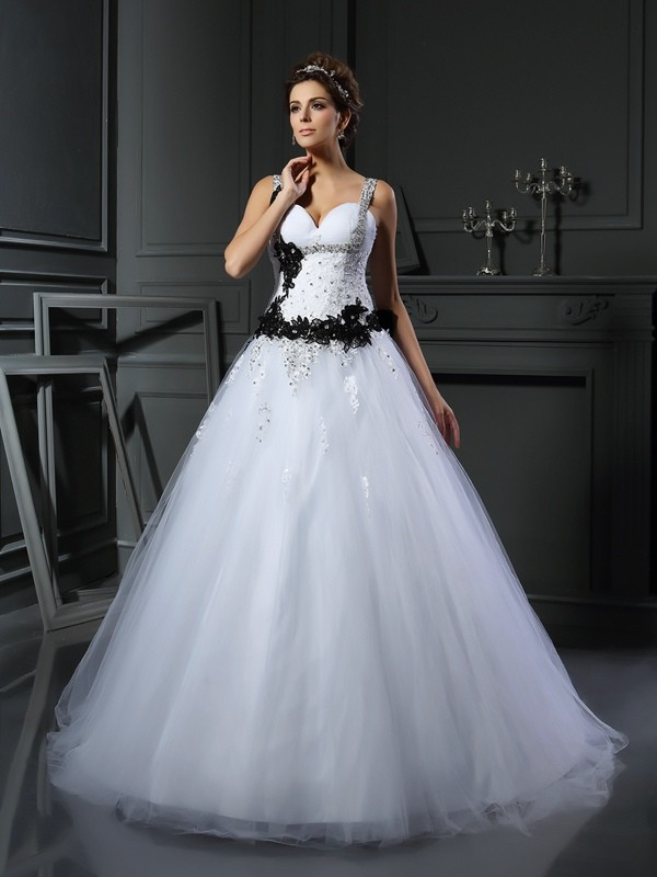 Chicregina Ball Gown Straps Tulle Chapel Train Beading Wedding Dress with Embroidery