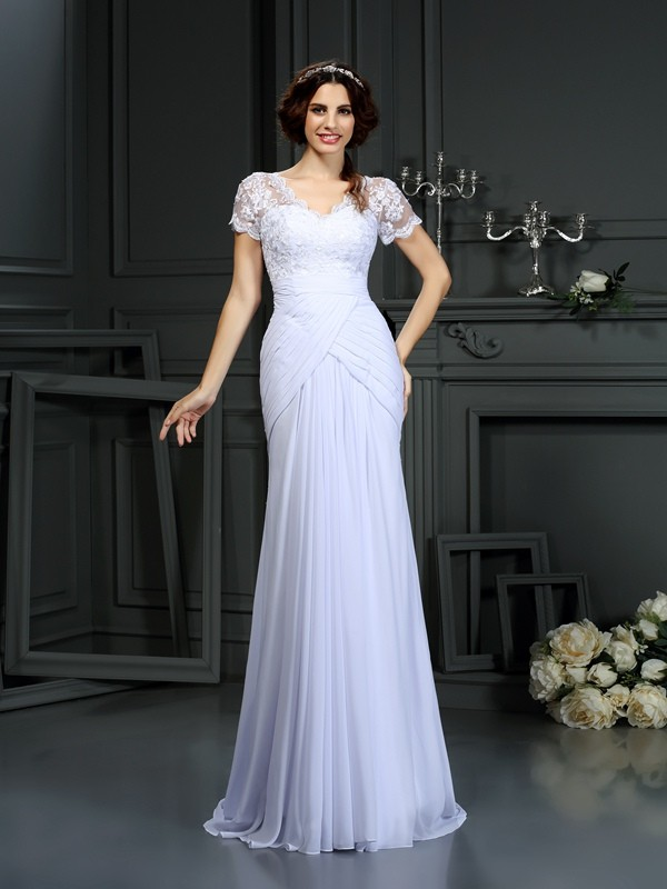 Chicregina Sheath/Column V-neck Short Sleeves Lace Chiffon Court Train Wedding Dress with Sash