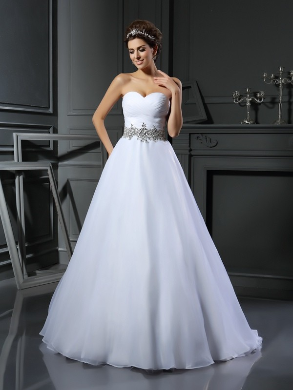 Chicregina Ball Gown Sweetheart Satin Court Train Wedding Dress with Ruffles