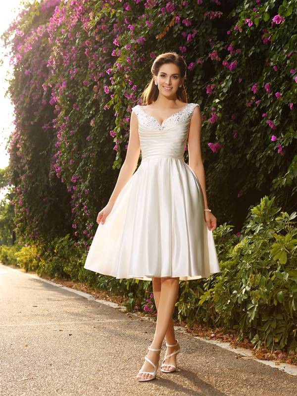 Chicregina A-Line/Princess V-neck Satin Knee-Length Wedding Dress with Ruffles