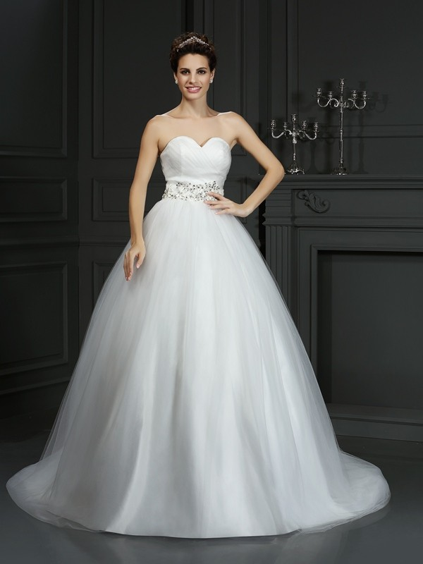 Chicregina Ball Gown Sweetheart Court Train Net Wedding Dress with Beading