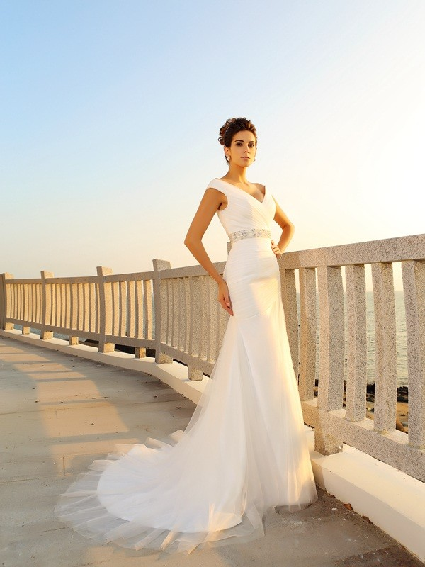 Chicregina Sheath/Column Court Train V-neck Net Wedding Dress with Embroidery Pleats