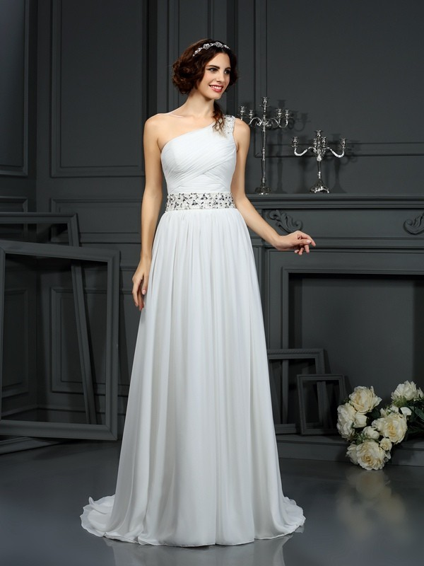 Chicregina A-Line/Princess One-Shoulder Court Train Chiffon Wedding Dress with Sash Beading