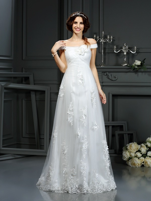 Chicregina A-Line/Princess Off the Shoulder Court Train Net Wedding Dress with Rhinestone Applique
