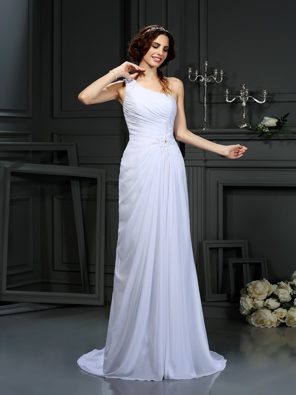Chicregina A-Line/Princess One-Shoulder Court Train Chiffon Wedding Dress with Embroidery Pleats