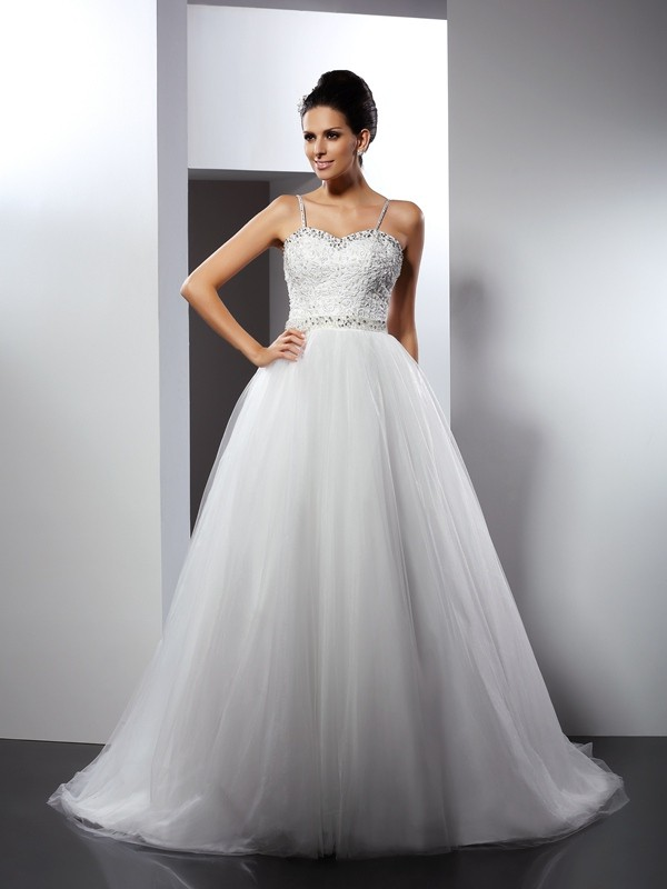 Chicregina A-Line/Princess Spaghetti Straps Chapel Train Tulle Wedding Dress with Pleats Beading