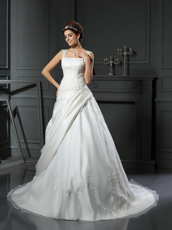 Chicregina Ball Gown Satin Straps Chapel Train Wedding Dress with Sash Applique