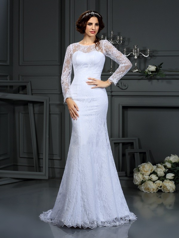 Chicregina Sheath/Column Scoop Long Sleeves Lace Satin Court Train Wedding Dress with Ruffles