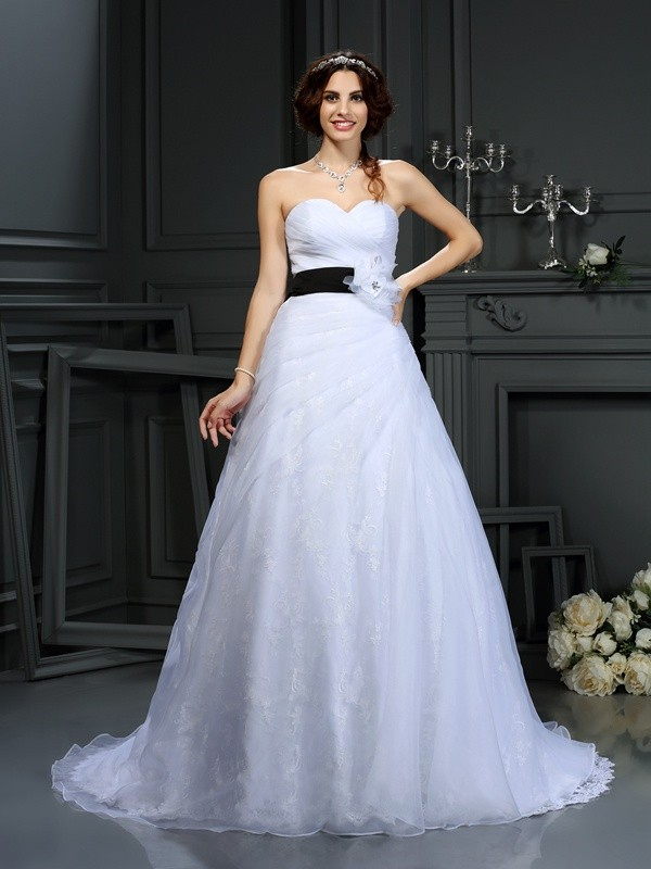 Chicregina A-Line/Princess Sweetheart Satin Court Train Wedding Dress with Rhinestone Sash/Ribbon/Belt