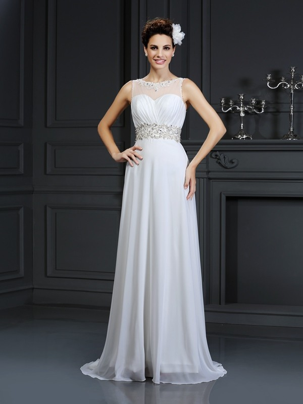 Chicregina A-Line/Princess Bateau Chapel Train Chiffon Wedding Dress with Embroidery Ruffles