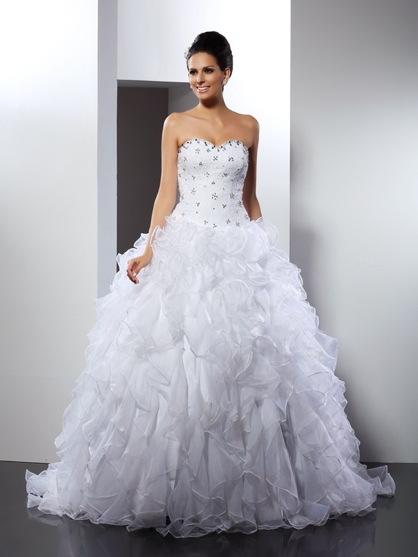 Chicregina Ball Gown Sweetheart Court Train Satin Wedding Dress with Pleats Ruffles