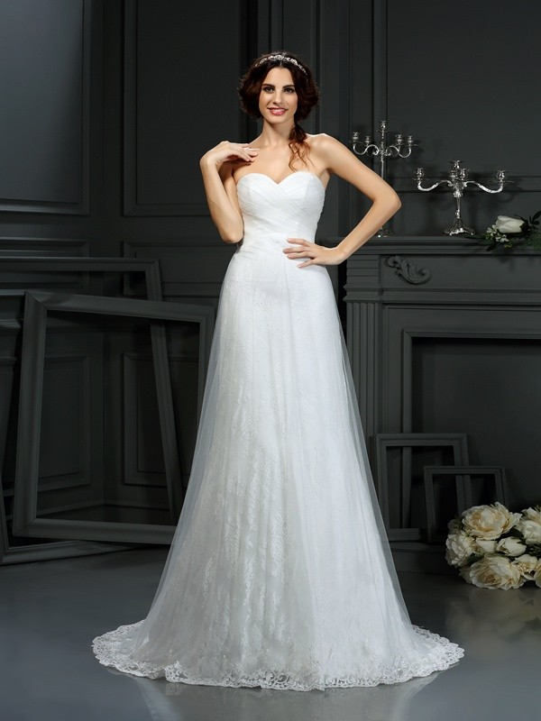 Chicregina A-Line/Princess Sweetheart Net Court Train Wedding Dress with Ruffles Pleats