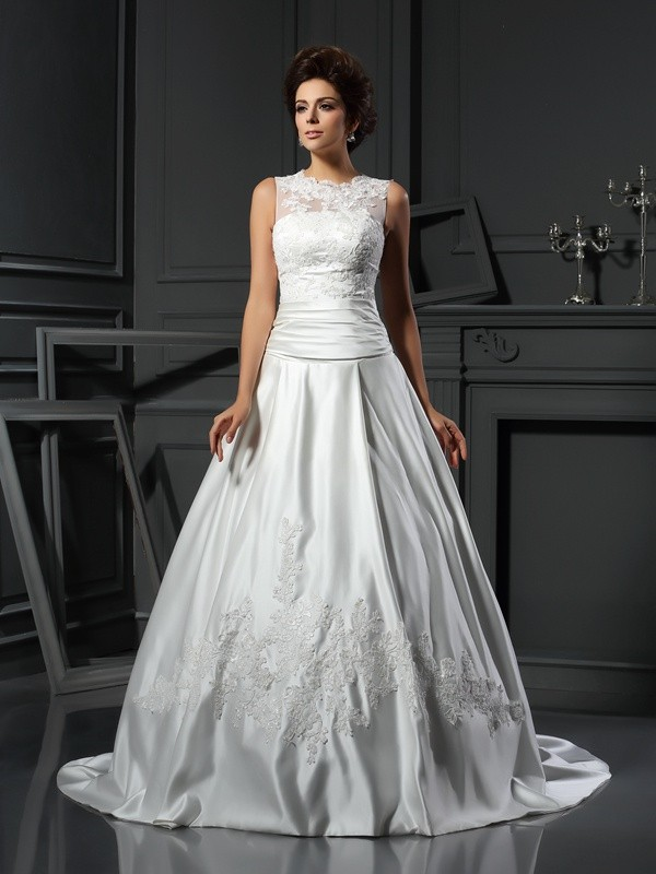 Chicregina A-Line/Princess High Neck Chapel Train Satin Wedding Dress with Rhinestone Applique