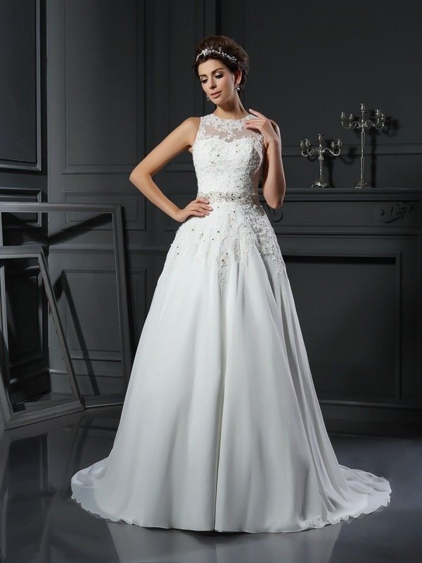 Chicregina A-Line/Princess High Neck Satin Chapel Train Wedding Gown with Pleats Applique