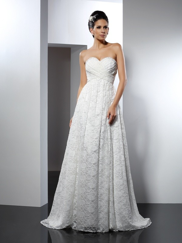 Chicregina A-Line/Princess Sweetheart Sweep/Brush Train Satin Wedding Dress with Embroidery