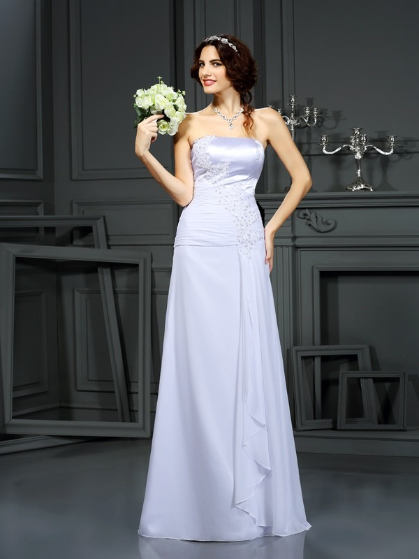 Chicregina Sheath/Column Strapless Chiffon Sweep/Brush Train Wedding Dress with Sash