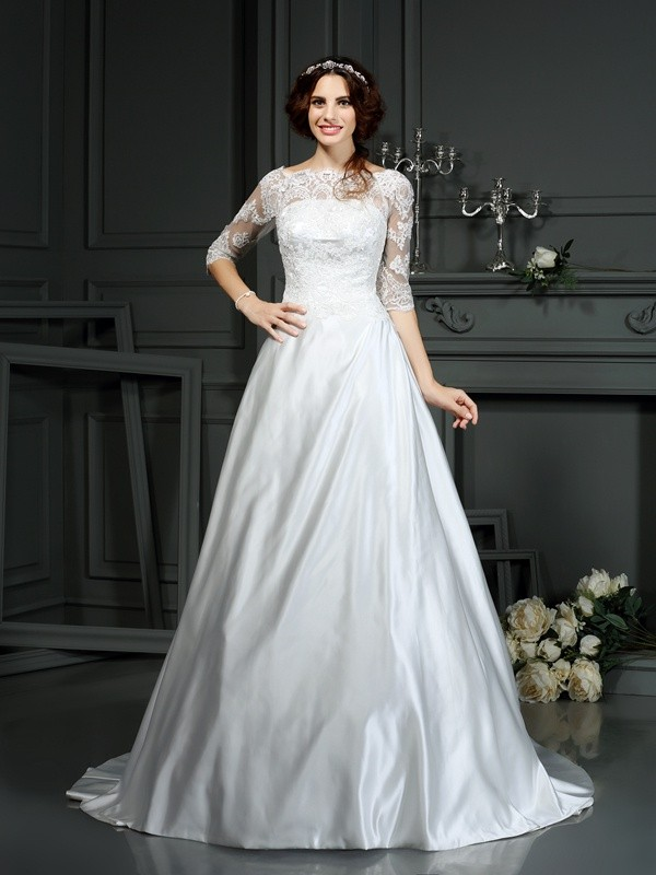 Chicregina A-Line/Princess Bateau 1/2 Sleeves Lace Satin Court Train Wedding Dress with Ruffles