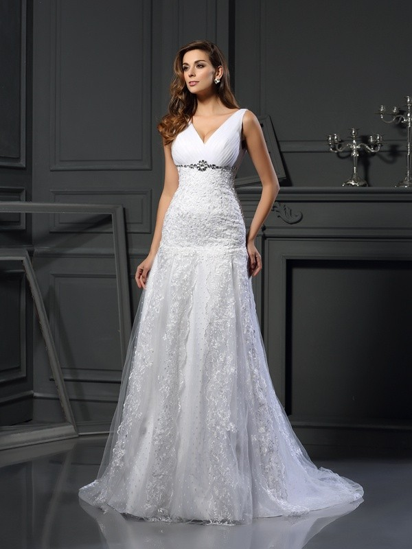 Chicregina A-Line/Princess V-neck Satin Chapel Train Wedding Dress with Beading Applique