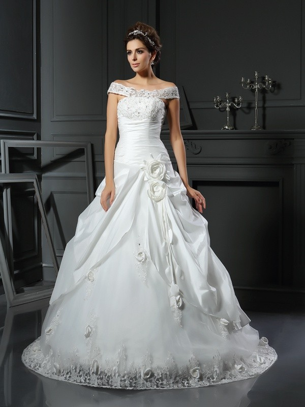Chicregina Ball Gown Off-the-Shoulder Hand-Made Flower Satin Chapel Train Wedding Dress with Ruched
