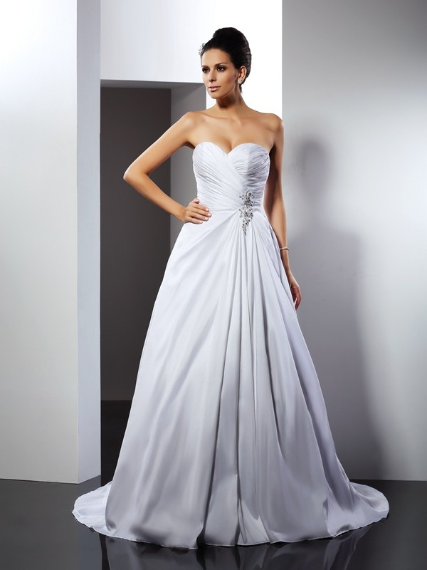 Chicregina A-Line/Princess Sweetheart Court Train Taffeta Wedding Dress with Lace Ruffles