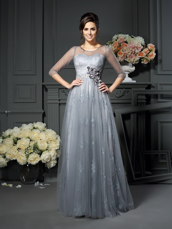 Chicregina A-Line/Princess Scoop 1/2 Sleeves Floor-Length Lace Satin Mother Of The Bride Dress with Embroidery