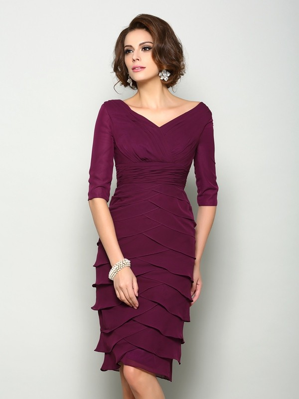 Chicregina Sheath/Column 1/2 Sleeves V-neck Knee-Length Chiffon Mother Of The Bride Dress with Pleats