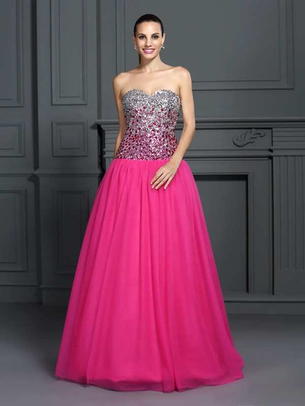 Chicregina Long Ball Gown Sweetheart Organza Dress with Beading