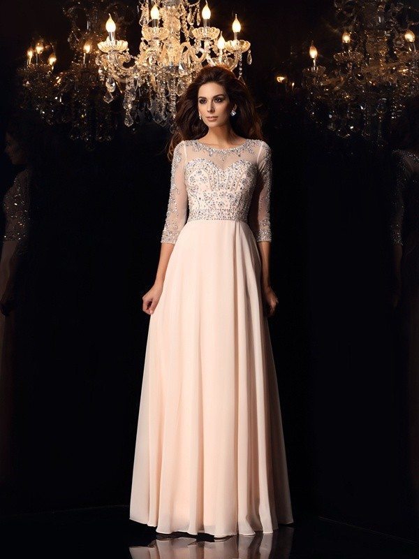 Chicregina Long A-Line/Princess Scoop Chiffon 3/4 Sleeves Dress with Rhinestone