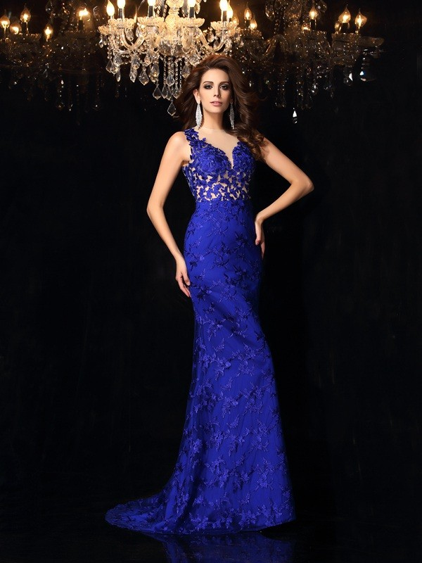 Chicregina Trumpet/Mermaid High Neck Lace Sweep/Brush Train Satin Dress with Sash