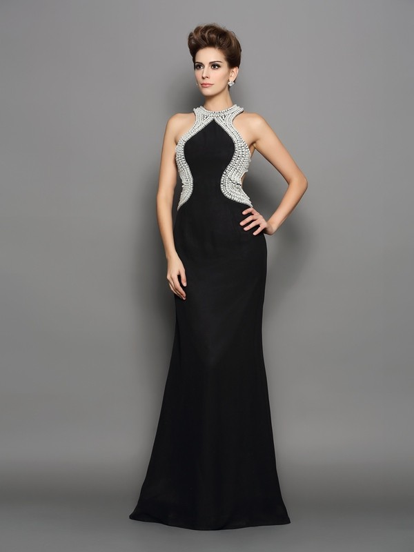 Chicregina Trumpet/Mermaid High Neck Chiffon Sweep/Brush Train Dress with Ruched Pearls