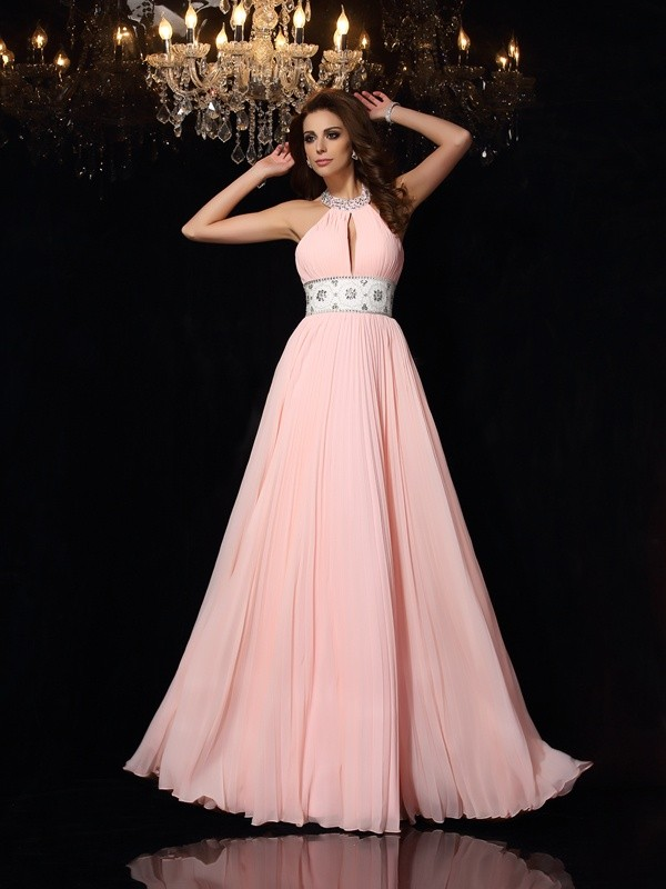 Chicregina Long A-Line/Princess High Neck Chiffon Pleats Dress with Beading