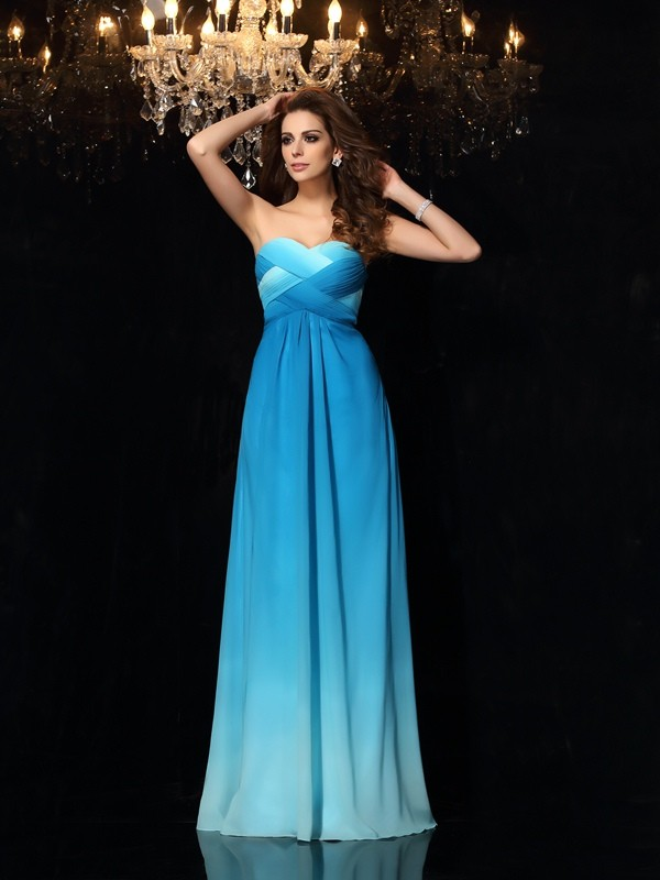 Chicregina Long A-Line/Princess Sweetheart Chiffon Dress with Sash Ruched