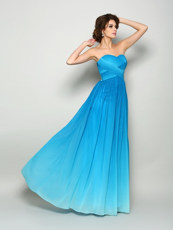 Chicregina Long A-Line/Princess Sweetheart Chiffon Dress with Beading Pleats