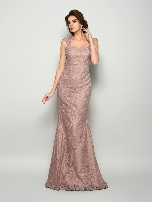 Chicregina Trumpet/Mermaid Straps Satin Sweep/Brush Train Dress with Lace