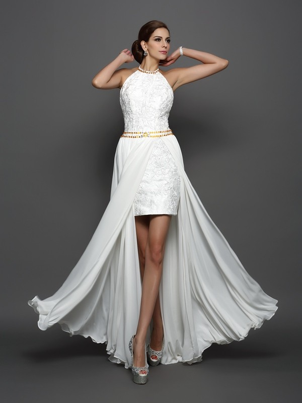Chicregina A-Line/Princess High Neck Lace Chiffon Chapel Train Wedding Dress with Beading