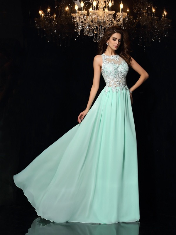 Chicregina A-Line/Princess High Neck Chiffon Sweep/Brush Train Applique Dress with Sash
