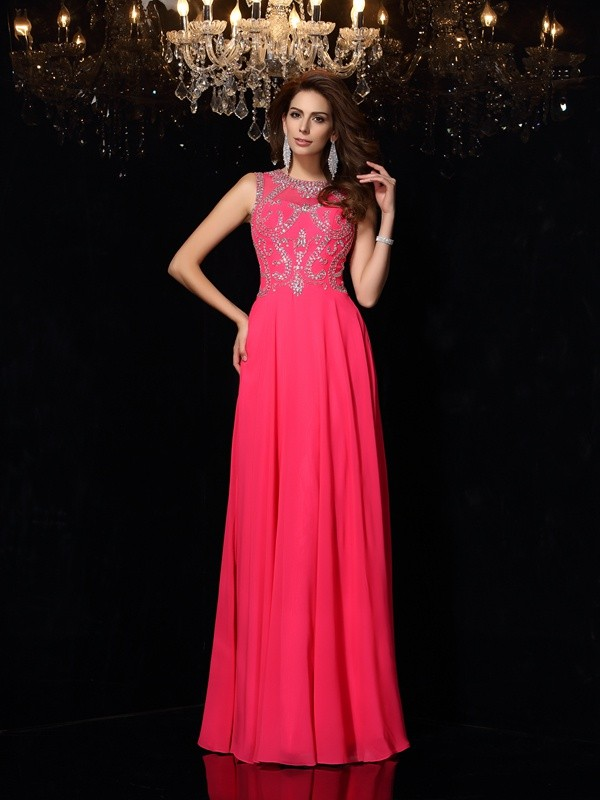 Chicregina A-Line/Princess Scoop Chiffon Long Evening Dress with Lace