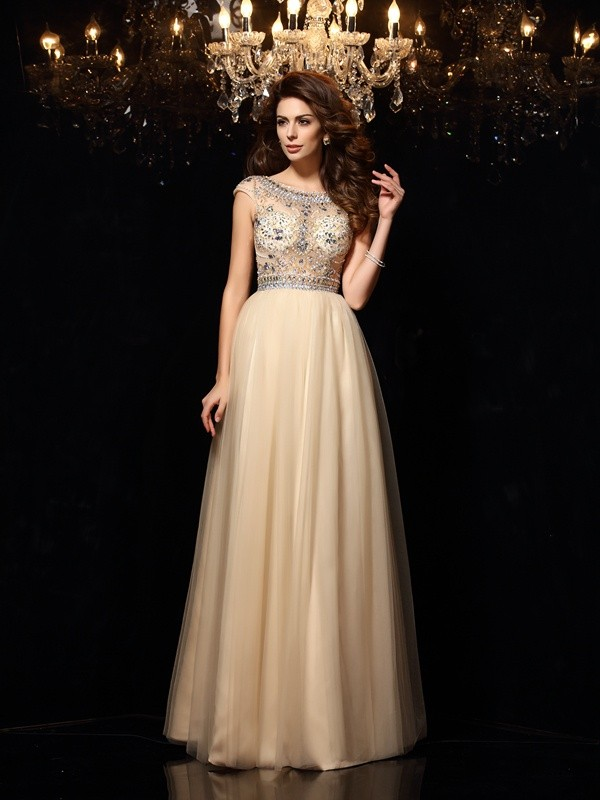 Chicregina Long A-Line/Princess Scoop Net Prom Dress with Embroidery
