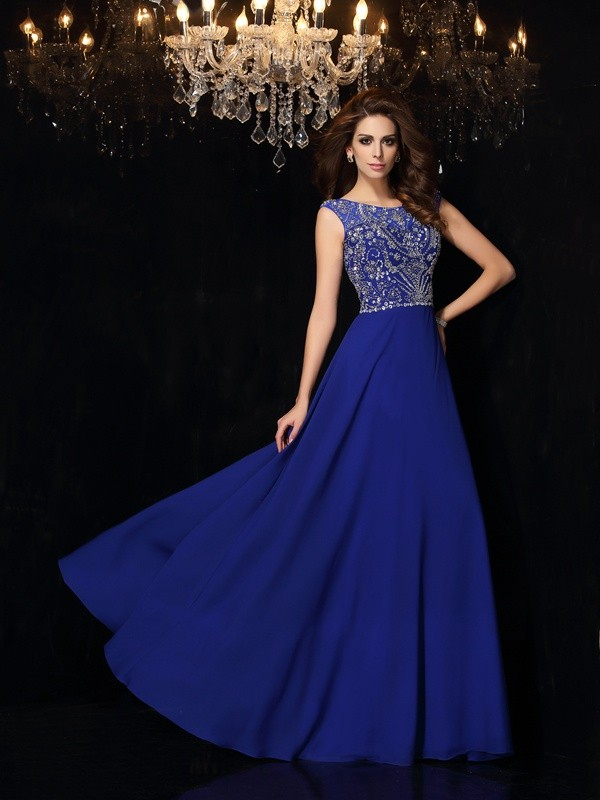 Chicregina A-Line/Princess Scoop Floor-Length Chiffon Dress with Lace Beading